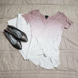 🛍 Rue21 Purple & White Ombre High/Low Tshirt Sz M